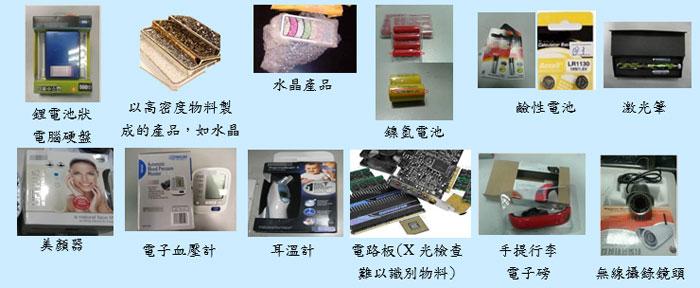 形狀及物料與鋰電池相似物品