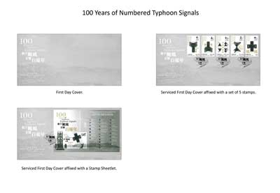 "First Day Cover and Serviced First Day Covers with a theme of ""100 Years of Numbered Typhoon Signals""."