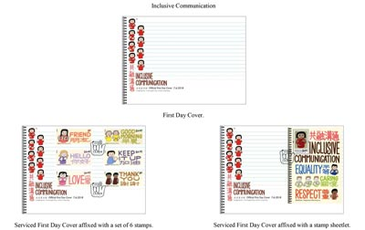 "First Day Cover and Serviced First Day Covers with a theme of ""Inclusive Communication"""
