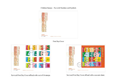"First Day Cover and Serviced First Day Covers with a theme of ""Children Stamps – Fun with Numbers and Symbols"""
