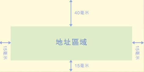 地址区域与上方距离为40毫米,而左、右及下方则15毫米